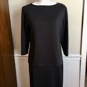 Vintage skirt set black 2 pc jersey skirt S, top L